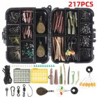 217/252pcs Carp Fishing Tackle Box Anti Tangle Sleeve line aligner Bait Screw Stoper carp hook carp lead sinker T0514-217 pieces without corn