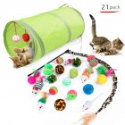 21Pcs Set Cat Teaser Channel Ball Plush Toys Set for Pet 21pcs