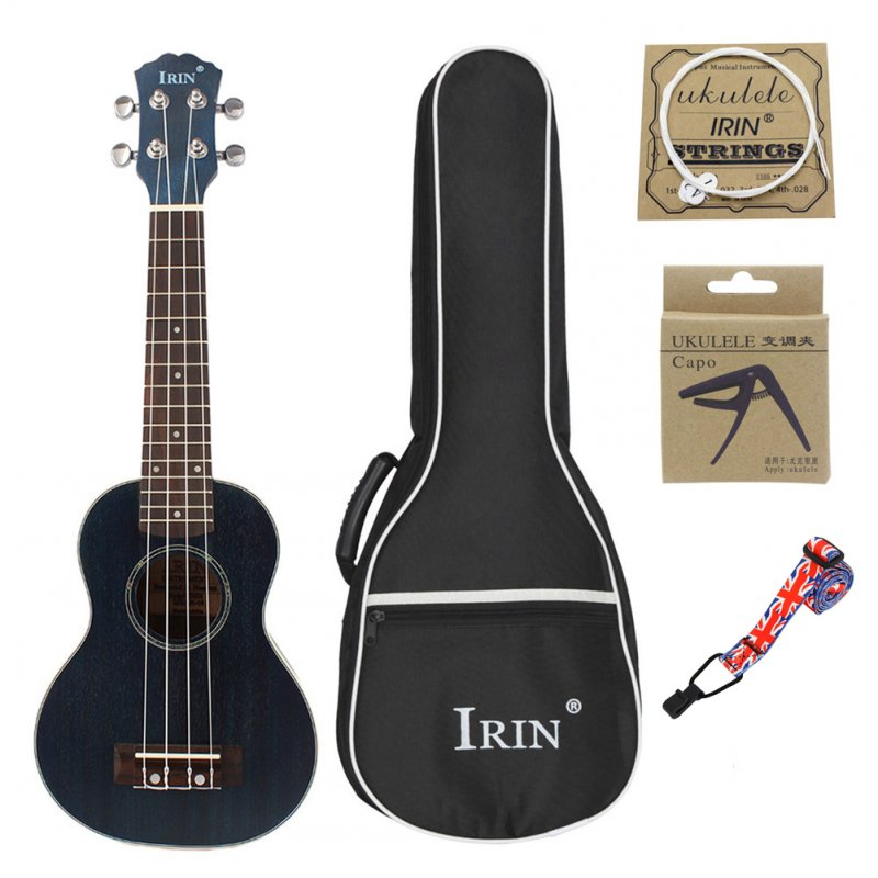 21inch Ukulele Concert 4 Strings Musical Instruments 15 Frets Spruce Wood Hawaiian Small Guitar Free Case&Strings Gradient blue