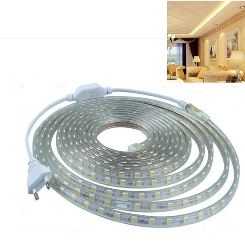 220V 5050 SMD High-voltage LED String Lights IP67 Waterproof Lamp Wedding Party Festivals Decoration Warm white light_220V Euro plug