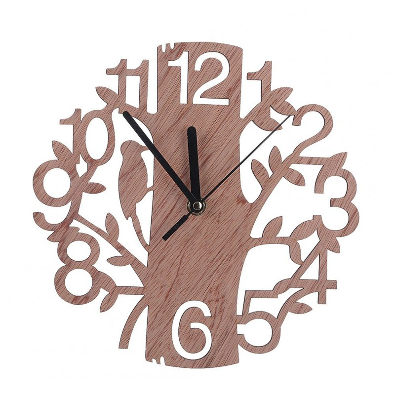 22cm Simple Wooden Tree Shape Wall Clock for Bedroom Wall Decoration As shown