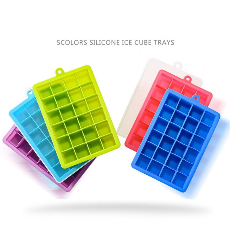 24 Grids Silicone Ice Cube Mode with Cover Frozen Tray Ice Making Mold Home Kitchen DIY Tools Random colour (wiht cover)
