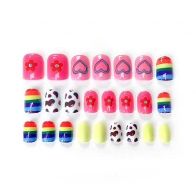 24 Pcs Rainbow Fake Nail Sticker Fashion Finished Nail Patch Nail Art Artificial Extension False Nail Tips    Double-sided sticker