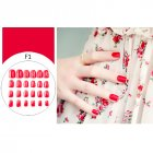 24 Pcs Simple Solid Color Fake Toe Nails Sticker False Nail Tips