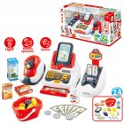 24Pcs Set LED Music Shop Cash Register Scanner Food Model Pretend Play Kids Toy