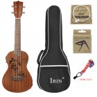 24inch Ukulele Sapele Wood Hollow Carved with LCD EQ Tuning Display Capo Strings Strap Musical Instrument for Ukulele Beginner Wood color