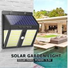 250LEDs Solar Security Lights Motion Sensor Waterproof Light Control Wall Lamp for Outdoor Garden Path Decoration  White light 1PC