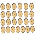 25Pcs/Set Wooden Slices Oval Blank Wood Pieces DIY Crafts Birthday Wedding Display Decor Wood color