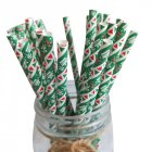 25pcs Disposable Christmas Paper Straws Degradable Kraft Paper Drinking Straw Christmas Decorations