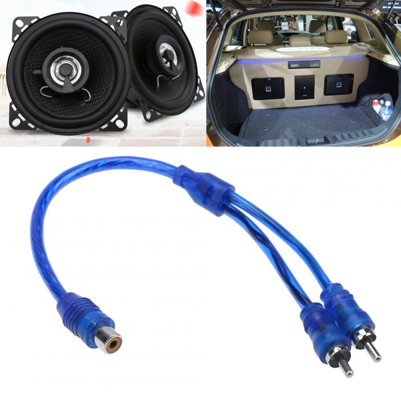27cm 2 RCA Female to 1 RCA Male Splitter Cable for Car Audio System blue