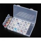 28 Slots Nail Art Storage Box Plastic Transparent Display Case Organizer Holder for Rhinestone Beads Rings Earrings Transparent