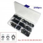 280Pcs Inner Tooth Star Lock Push Lock Washer Speed Clip Fastener Classification Kit(Box Packing) black