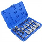 29Pcs Star Torx Sockets Set & Bit Male Female E & T Sockets Ratchet Screwdriver Bit for Mechanics Security Repair blue