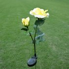 2LED Waterproof Solar-powered Rose Lawn Pin Lamp Outdoor Landscape Light Yard Garden Decoration (2 Rose Head per Lamp) yellow flower head white light