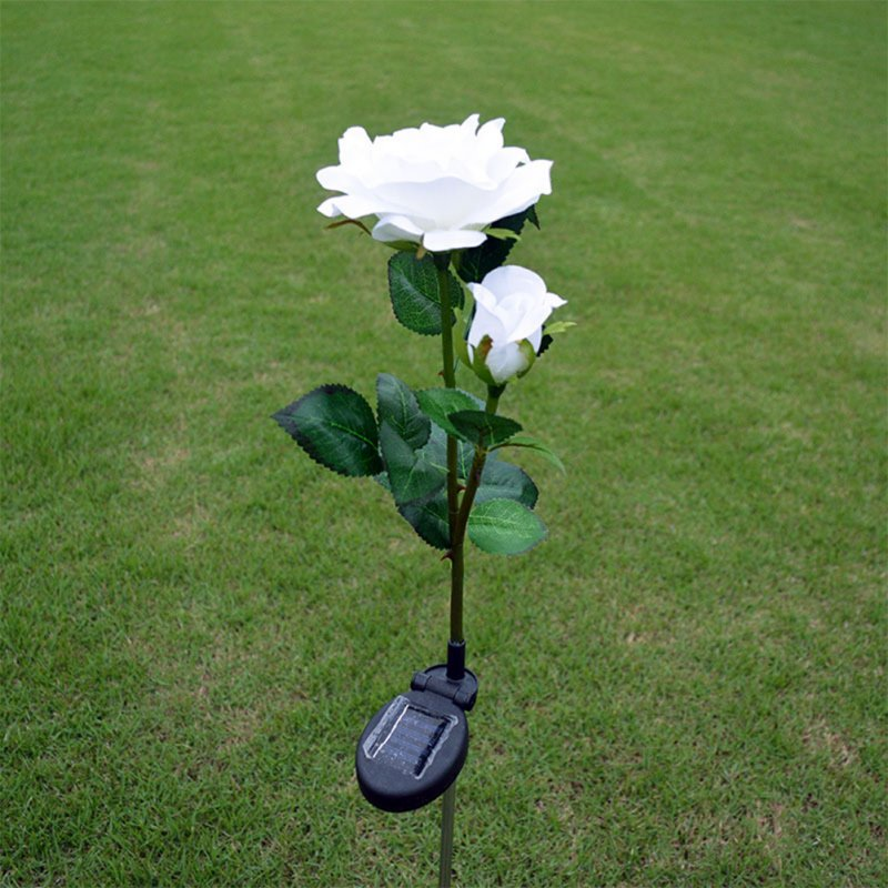 2LED Waterproof Solar-powered Rose Lawn Pin Lamp Outdoor Landscape Light Yard Garden Decoration (2 Rose Head per Lamp) white flower head white light