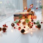 2M 20LEDs PineCones Pine Needle Red Berry Copper Wire String Light for Christmas Decor Warm White Battery