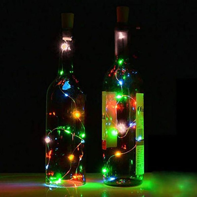 2M 20Pcs Christmas Colour Lamp Solar Wine Bottle Stopper lamp String Outdoors Waterproof Copper Wire Lamp String  color_Solar 2m 20 light