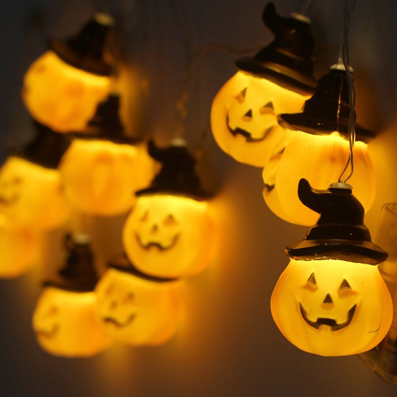 2M/3.8M 10LEDs/20LEDs Pumpkin Shape String Lights Halloween Decorative Props 20led3 battery