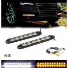 2PC LED Car Flexible DRL Switchback LED Knight Rider Strip Light Headlight Arrow Flasher DRL Turn Signal Waterproof White light to yellow light_6LED on black