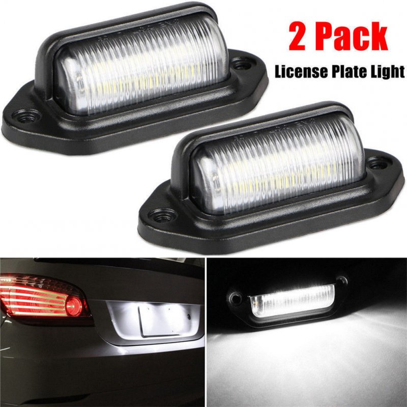 2PCS 6LED 12-24V License Plate Light Car Boat Truck Trailer Step Lamp White light