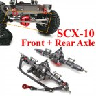2PCS CNC Aluminum Front + Rear Rock Bridge Axle for AXIAL Honcho Jeep SCX10 1/10 Rc Car Parts as shown