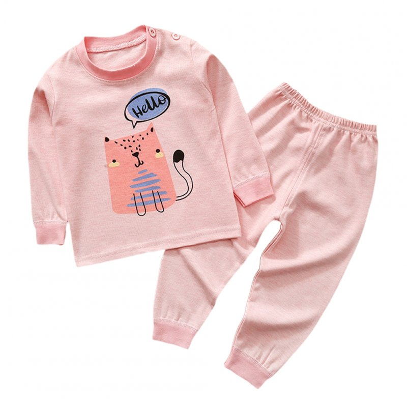 2PCS Children's Cute Cartoon Face Cotton Sleepwear Long Sleeve Top Trousers for Home  Pink-cat_65 yards