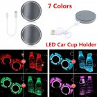 2PCS LED Car Colorful Water Cup Mat Lights Seat Trim Accessories Decoration Lamp Colorful Neutral without logo