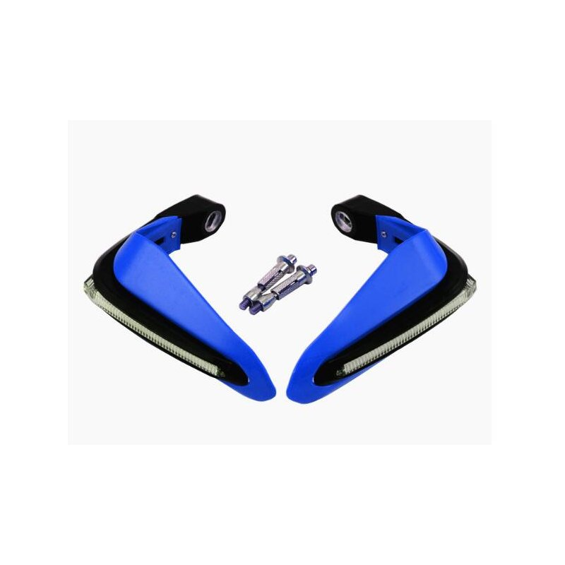 2PCS Motorcycle Handguards Modified Handle Windshield 1.5cm Handlebars LED Light Wind Shield blue