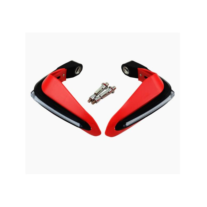 2PCS Motorcycle Handguards Modified Handle Windshield 1.5cm Handlebars LED Light Wind Shield red