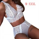 2PCS/Set Sexy Women Underwear Panties Hot Lingerie Lace Bra and Briefs  white_XXL