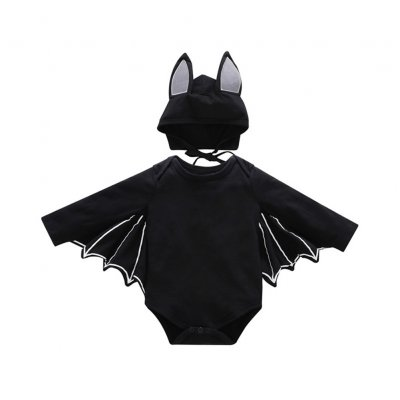 2PCS/Set Unisex Baby Halloween Cosplay Costume Bat Design Long-sleeve Rompers + Hat black_80cm