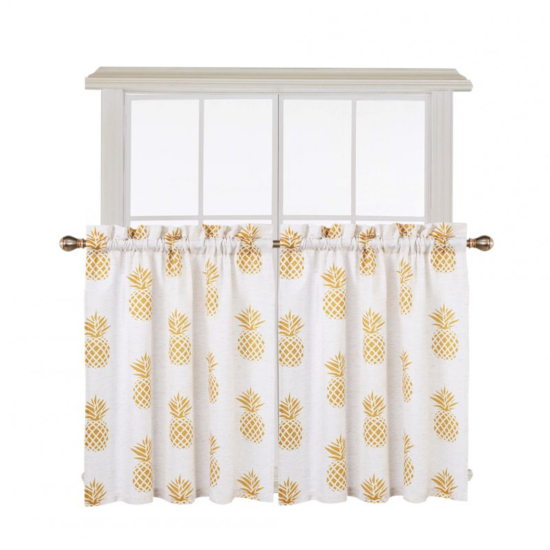2PCS Small Window Curtains Tiers Pineapple Print Rod Pocket Curtain Set Kitchen Bathroom Bedroom Drapes
