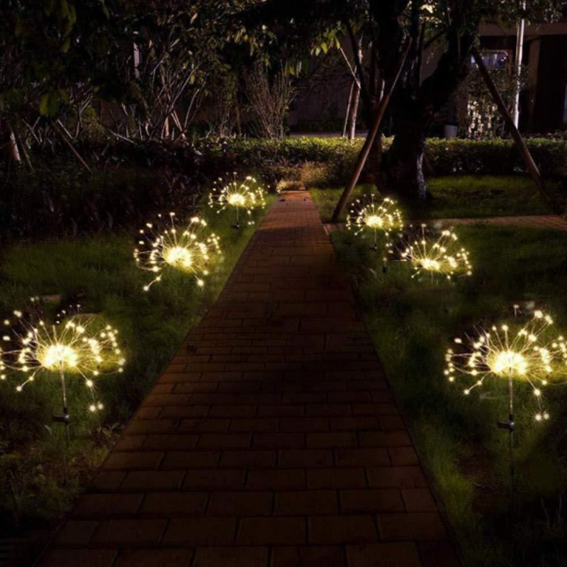 2PCS Solar Powered Lawn Light Waterproof Fireworks Copper Lamp String for Christmas Decor warm light_2 mode 90LED-warm white