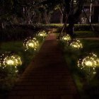2PCS Solar Powered Lawn Light Waterproof Fireworks Copper Lamp String for Christmas Decor warm light_2 mode 120LED-warm white