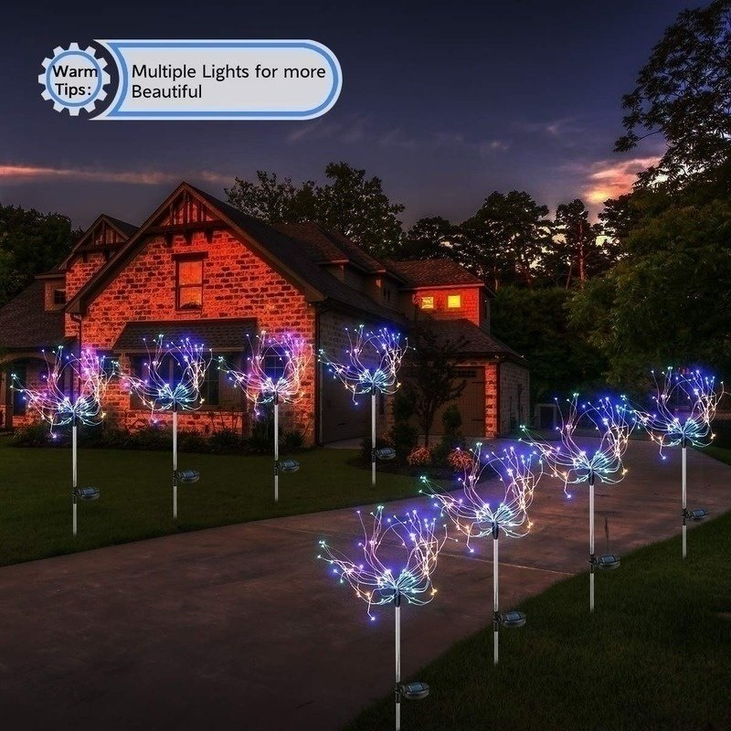 2PCS Solar Powered Lawn Light Waterproof Fireworks Copper Lamp String for Christmas Decor colors_2 mode 150LED-color