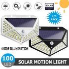 2Pcs 100LEDs Solar Wall Light Four-Sided Illumination Motion Sensor Outdoor Garden Path Alley Street Night Lighting White shell_2PCS