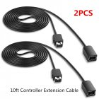 2Pcs 10ft Controller Extension Cable for Super Nintend SNES&NES Classic Edition black