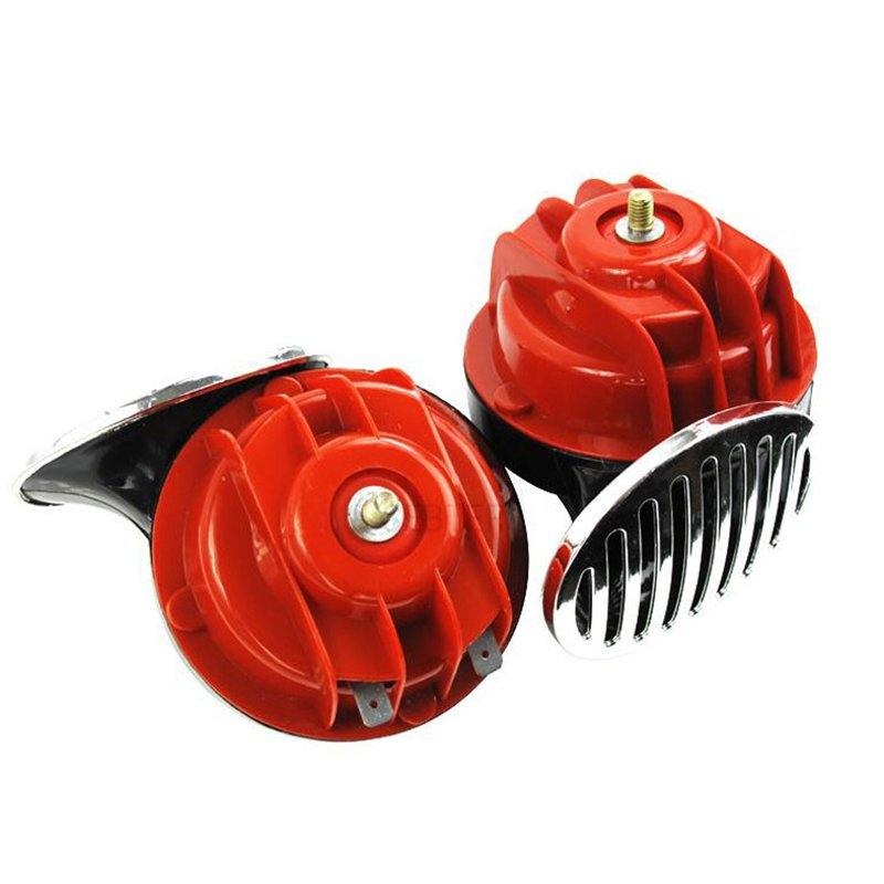 2Pcs 12V/24V Snail Air Horn with Cover Loud Alarm Kit for Car Boat Motorcycle; Red 12V