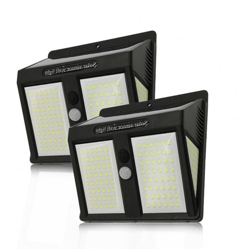 2Pcs 146LEDs Waterproof Solar Light 4 Sides Light Control+Human Body Induction Lamp  White light_English version