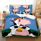 2Pcs/3Pcs Full/Queen/King Quilt Cover +Pillowcase Set with 3D Digital Cartoon Animal Printing for Home Bedroom Twin