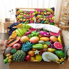 2Pcs/3Pcs Full/Queen/King Quilt Cover +Pillowcase 3D Digital Printing BBQ Fruit Series Beeding Set FUll