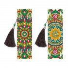 2Pcs 5D DIY Diamond Painting Leather Bookmark Tassel Book Marks Special Shaped Diamond Embroidery