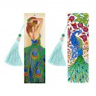 2Pcs 5D Diamond Painting Leather Bookmark Tassel Book Marks Special Shaped Diamond Embroidery peacock