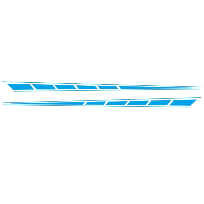 2Pcs Auto Car Side Body Long Stripe Sport Vinyl Decals Decoration Racing Sticker blue