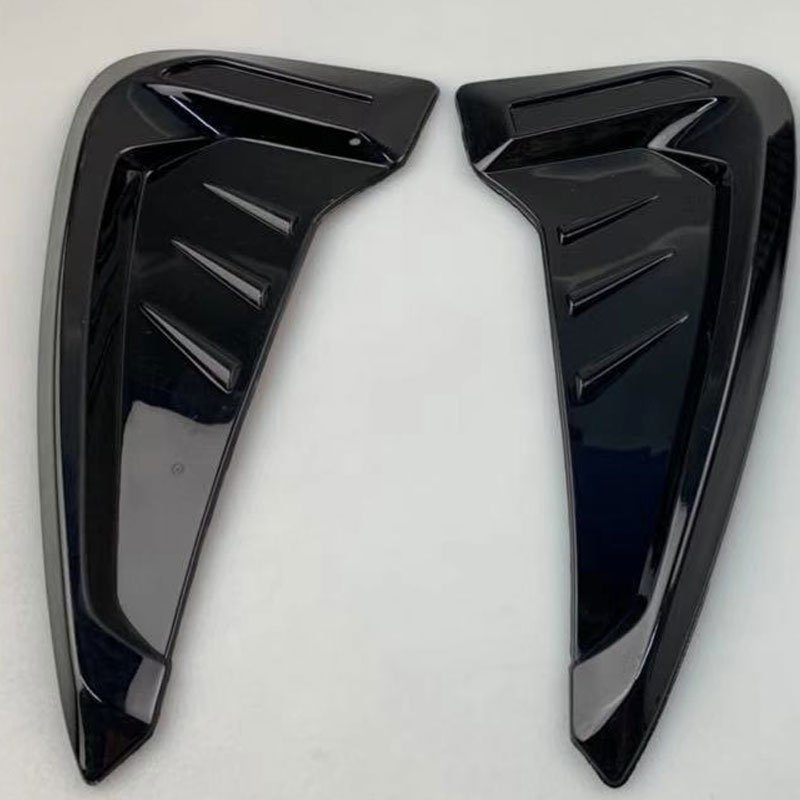 2Pcs Car Side Mudguard Air Vent Covers Black Rubber Shark Gills Decoration Sticker black