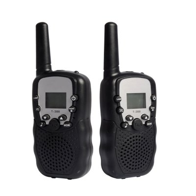2Pcs Kids Walkie Talkies Toys with Earphones Flashlights Radio for Outdoor Black