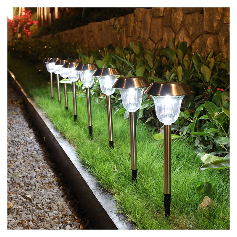 2Pcs LED Solar Garden Light Outdoor Stainless Steel Pathway Lights for Garden Lawn Walkway