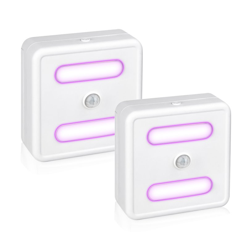 2Pcs LED Sterilization Lamp Induction Night Light for Home Cabinet Germicidal Lamp Purple light 2pcs