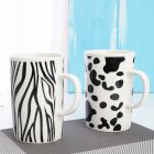 2Pcs Large Size Stripe Printing Ceramic Cups Mug for Coffee Tea Home Office Drinkware