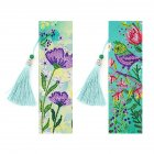 2Pcs Leather Bookmark Tassel Book Marks 5D DIY Diamond Painting Special Shaped Diamond Embroidery